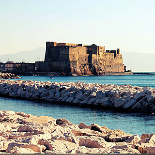Castel dell'Ovo seen from the seafront in Naples